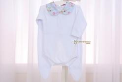 Conjunto de Body e Mijão para Bebê Catarina Turquesa Floral