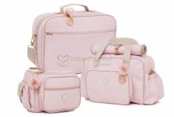 Conjunto de Bolsas Maternidade e Mala Estampada Rosa Lequiqui