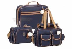 Conjunto de Bolsas Maternidade Malta Marinho Lequiqui 3 peças