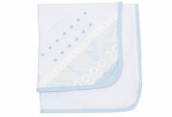 Cueiro para Bebê Aflanelado Bless Azul com Renda Inglesa - Azul