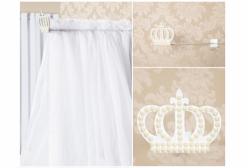 Dossel com Mosquiteiro Coroa em Pérola em Voil - Branco