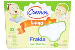 Fralda Cremer Luxo com Bainha Branca 5 Peças - Branco