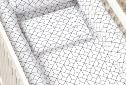 Jogo de Lençol de Berço Geometric Preto e Branco 2 peças