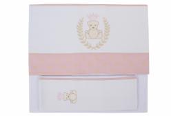 Jogo de Lençol para Berço Urso com Coroa Rosa Just Baby