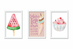 Kit 03 Quadros Ice Cream Giz de Cor