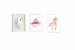 Kit 03 Quadros Unicorn Unicórnio Pink