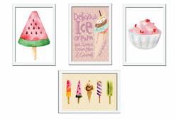 Kit 04 Quadros Ice Cream Giz de Cor
