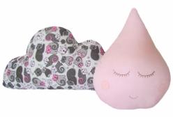 Kit Almofadas para Bebê Nuvem Gatinha com Gotinha Rosa 2 Peças