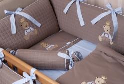 Kit Berço Enxoval Oxford Chocolate e Azul 9 Peças