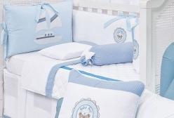Kit Berço Náutico Ursinho 180 Fios 10 Peças - Azul