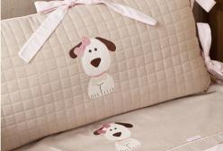 Kit Berço Royal Dog com Laço Rosa 9 peças