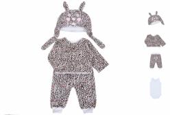 Kit Body, Calça, Casaco e Touca em Plush Oncinha Sophia em Plush 4 Peças