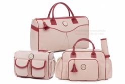 Kit Bolsas Maternidade California Rosa e Bordô Lequiqui 3 peças