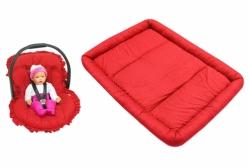 Kit Capa para Bebê Conforto e Colchonete para Chiqueirinho Poá Vermelho