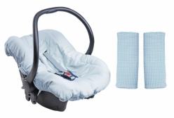 Kit Capa para Bebê Conforto e Protetor de Cinto Little Bear Azul Hug Baby