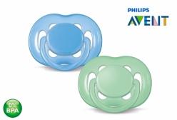 Kit Chupeta Philips Avent Ortodôntica Azul e Verde 6-18 meses