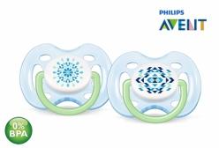 Kit Chupeta Philips Avent Ortodôntica Contemporânea Azul 0-6 Meses