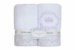 Kit Cobertor de Bebê em Soft Damask Laura Ashley 02 Peças - Branco