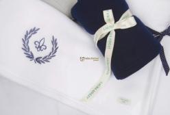 Kit Cobertor em Soft Fleur de Lis Marinho Laura Ashley