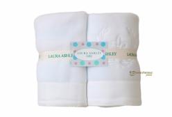 Kit Cobertor para Bebê em Soft Flor de Lis Royal Branco 400 fios Laura Ashley