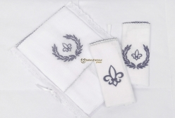 Kit Fralda de Ombro e Boca Fleur de Lis Marinho Laura Ashley