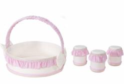 Kit Higiene para Bebê Realeza Rosa Giz de Cor 04 Peças