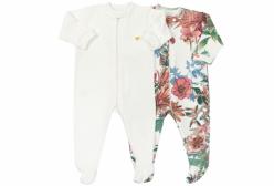 Kit Macacões Bebê com Zíper em Suedine Floral com Marfim 2 Peças