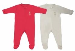Kit Macacões Bebê com Zíper em Suedine Vermelho e Nude Fendi