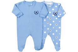 Kit Macacões para Bebê com Zíper em Suedine Azul 2 Peças