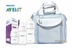 Kit Mamadeiras Pétala Philips Avent com Bolsa Maternidade Azul