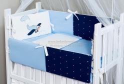 Kit Mini Berço Avião Marinho e Azul 8 peças