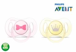 Kit Mini Chupetas Philips Avent Ortodôntica Rosa e Amarela 0 à 2 Meses