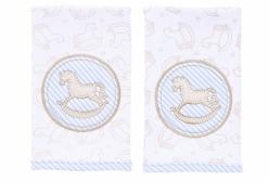 Kit Pano de Boca para Bebê Cavalinho de Balanço Baby Blue Hug Baby