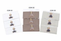 Kit Pano de Boca para Bebê em Fralda Oxford (3 cores) - Cor 01