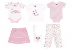 Kit para Bebê Menina Garden Tip Top 6 Peças - Rosa