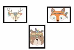 Kit Quadros da Coleção Indian Fox 03 Peças