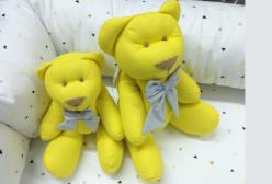 Kit Ursinho em Tecido Poá Amarelo com Laço Cinza