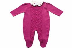 Macacão Bebê Menina Mini Pérola Tricô Pink Noruega Baby
