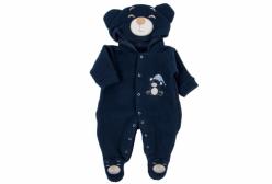Macacão para Bebê em Soft de Urso com Capuz Marinho