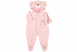Macacão para Bebê em Soft de Urso com Capuz Rosa