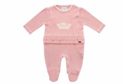 Macacão para Bebê em Tricô Coroa Rosa Noruega Baby