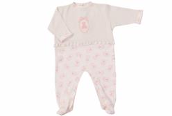 Macacão para Bebê Menina Bristol Marfim e Rose