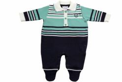 Macacão para Bebê Polo Marinho e Verde em Tricô Noruega Baby