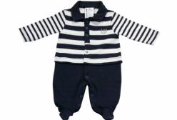 Macacão para Bebê Polo Marinho em Suedine e Tricô