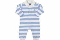 Macacão Stripes Polo Tip Top - Azul Claro e Branco