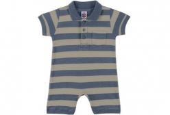 Macaquinho Bebê Polo Azul Jeans Tip Top