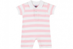 Macaquinho Bebê Polo Rosa Tip Top - Rosa Claro e Branco