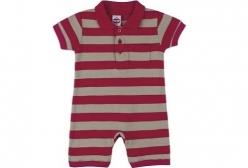 Macaquinho Bebê Polo Vermelho Tip Top - Vermelho e Caqui