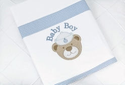 Manta em Malha para Bebê Forrada Navy Azul
