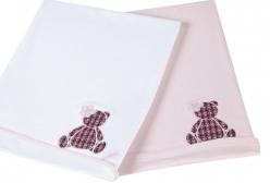 Manta Forrada em Suedine Ursinha Tweed com Camélia   - Branco